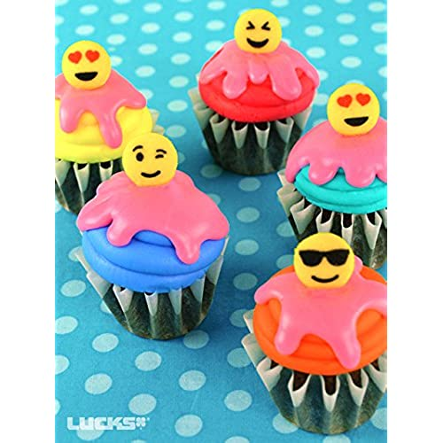 Lucks 24 Count Emoji Assorted Edible Sugar Cup Cake Cupcake Cookie Decorations