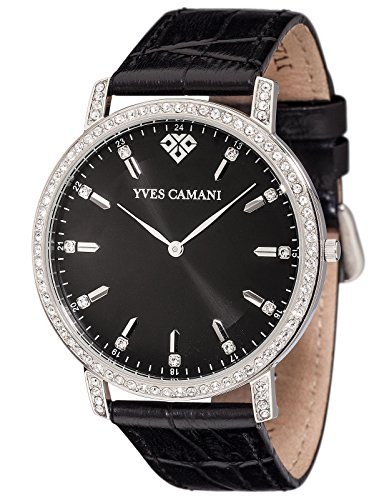 Yves Camani Mayenne Women's Wrist Watch Quartz Analog Stainless Steel Silver Black Dial Leather Strap