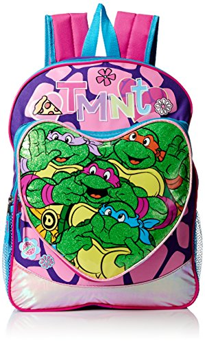 Teenage Mutant Ninja Turtles Little Girls Heart Pocket 16 Inch Backpack, Green/Pink, One Size