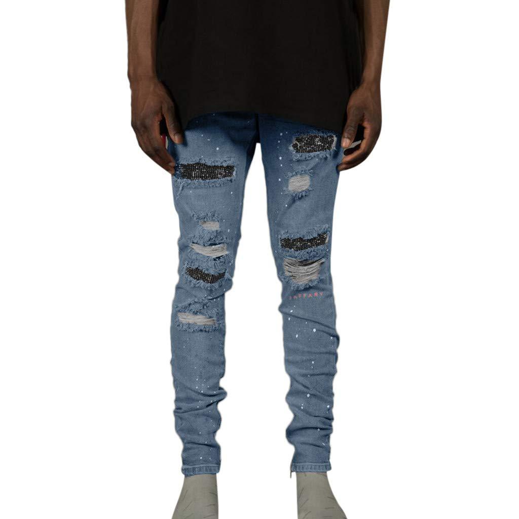 Aleola Men Casual Skinny Slim Solid Straight Zipper Pocket Long Pants Trousers (Light Blue,34) by Aleola_Men's Pants