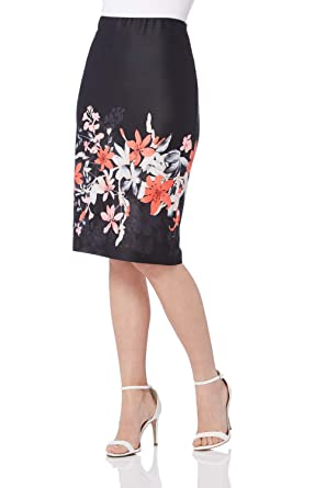 bc9516195c Roman Originals Women Floral Print Scuba Skirt - Ladies Pencil Knee Length  Bodycon Jersey Stretch Formal Flowers Office Smart Going Out 50s Roses  Summer ...