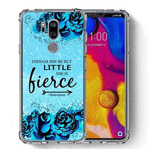 for LG G7 Case, LG G7 ThinQ Case, SuperbBeast Ultra Slim Thin Protective Case w/Reinforced Corners Vector Floral Flowers Polka Dots [Glitter Pattern] ()