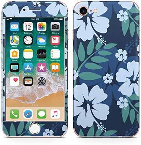 igsticker iPhone SE 2020 iPhone8 iPhone7 専用 スキンシール 全面スキンシール フル 背面 側面 正面 液晶 ステッカー 保護シール 000377 フラワー 花 ハイビスカス 青