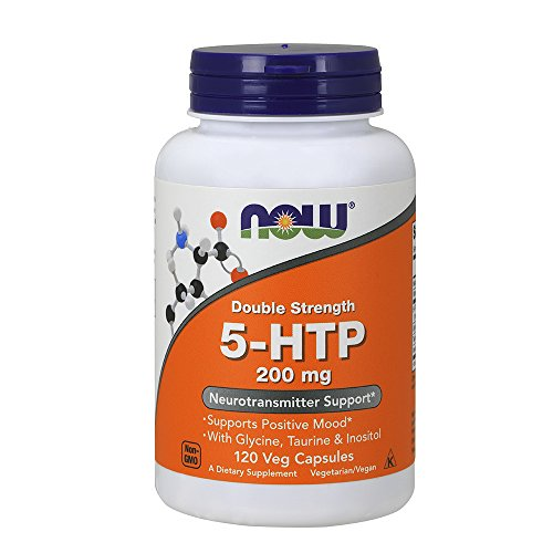NOW Supplements, 5-HTP, Double Strength 200 mg, 120 Veg Capsules