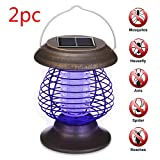 Naiflowers 2PC Solor Outdoor Lamp, Solar Powered LED Light Pest Bug Zapper Insect Mosquito Killer Lamp Garden Lawn Walkway Yard Garden Outdoor Indoor Use