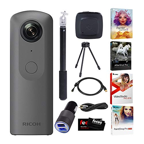 Ricoh Theta V 360-Degree Spherical 4K HD Digital Camera Selfie Stick, Video Editing Software Bundle (Best Editing App For Gopro Videos)