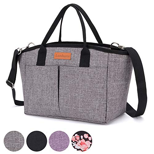 Insulated Lunch Bag,Leakproof Thermal Reusable Lunch Box,Spacious Lunch Cooler Tote with Detachable Shoulder Strap,Perfect for Picnic,Travel,Work (Gray)