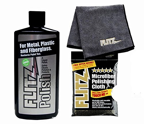 Flitz Metal Liquid Polish 16 oz Bottle with EXTRA LARGE microfiber cleaning cloth ()