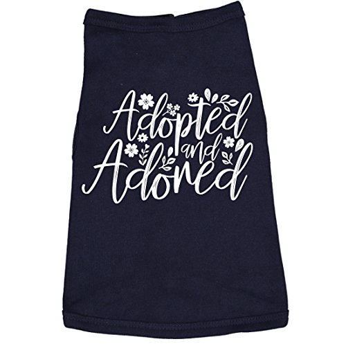 Dog Shirt Adopted and Adored Cute Clothes for Rescue Pet (Navy) - M ()