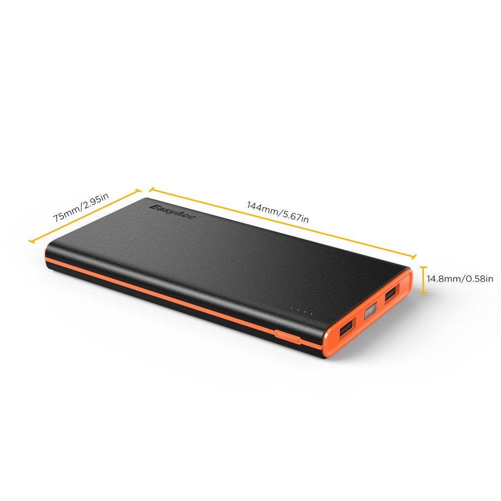easyacc smart 10000mah powerbank externer akku portable ladeger t schwarz orange. Black Bedroom Furniture Sets. Home Design Ideas