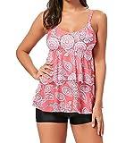 Tomlyws Women's Swimsuit Swimwear Two Pieces Tankini Top with Shorts Set Paisley Ruffle Bathing Suits Pink XXXL