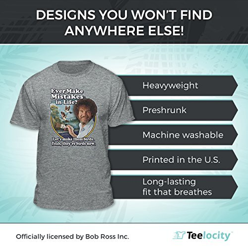 4d854768 Amazon.com: Bob Ross Make Mistakes Into Birds Official Licensed T-Shirt:  Clothing