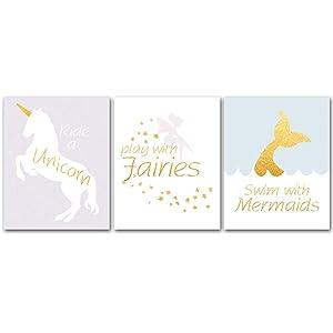 "Unframed, Adorable Fairy Tale Unicorn Fairies Mermaid Watercolor Art Print Cartoon Artwork Canvas Art Print,Set of 3 Art Poster(8""x10"") Kids Girls Bedroom Nursery Wall Decor"