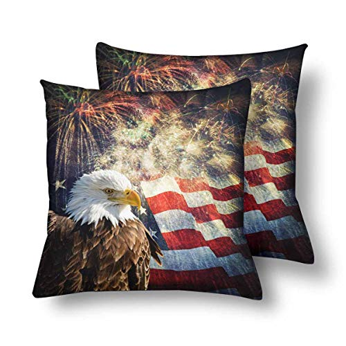 InterestPrint Pillowcase Throw Pillow Covers 18x18 Set of 2, Bald Eagle Flag Fireworks Independence Day Memorial Day Pillow Cases Sham Protector for Home Couch Sofa Bedding Decorative