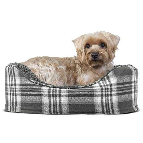 FurHaven Pet Dog Bed   Oval Terry Fleece & Plaid Pet Bed for Dogs & Cats, Smoke Gray, Small