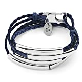 Lizzy James Mini Addison Wrap Bracelet Silverplate in Natural Pacific Dark Blue Braided Leather (Small)