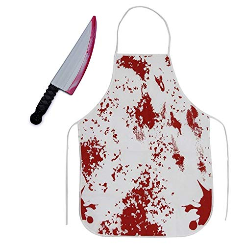 2 in 1 Bloody Apron & Knife Halloween Party Horror Decorations for Cruel Murderer Party Costume Accessories, 20x28 -