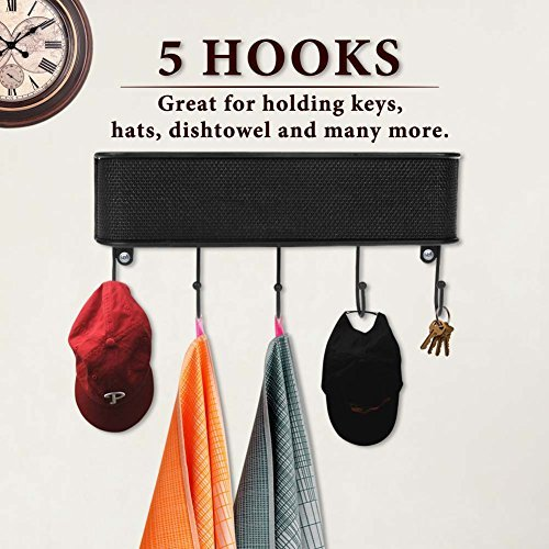Letter Holder Mail Organizer with 5 Hooks Key Rack for Entryway, Anti Rust Wall Mount Mail Storage Basket for Kitchen Office with Hardware Screws Included by Keep Letter Holder (Image #2)