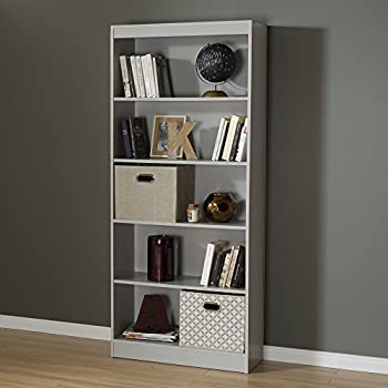 South Shore Axess 5 Shelf Bookcase, Soft Gray