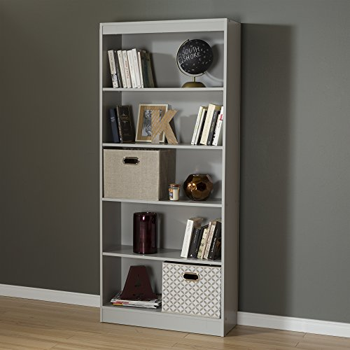 South Shore 5-Shelf Storage Bookcase, Soft Gray by South Shore