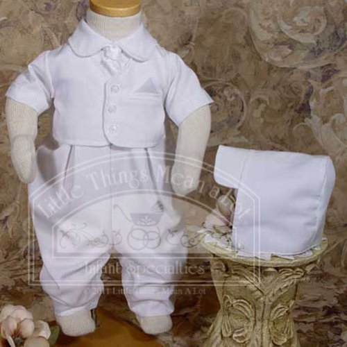 Handsome White Vested Gabardine Short Sleeve Christening Baptism Coverall, 12 (Gabardine One Piece)