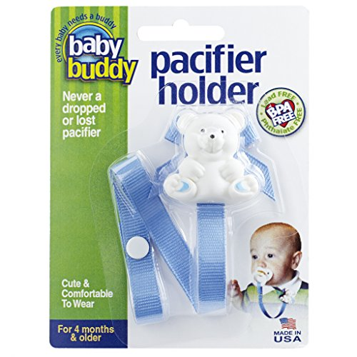 Baby Buddy Pacifier Holder Clip - Cute Fashionable Bear Clips onto Baby's Shirt, Snaps to Paci, Teether, Toy - For Babies 4+ Months - Pacifier Clip for Toddlers Boys & Girls, Blue, 1 Count