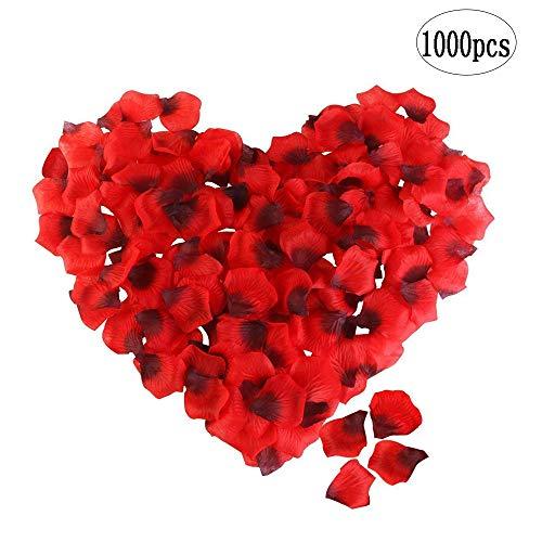 BinaryABC Artificial Silk Rose Petals,Valentine's Day Decorations, Romantic Flower Decor Wedding 1000Pcs(Dark Red) ()