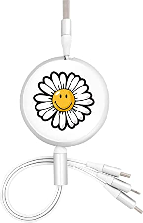 Flower 3 in 1 Multiple USB Stretch Charger Cord with Micro,Type C,iOS Connectors with Cell Phone Tablets More