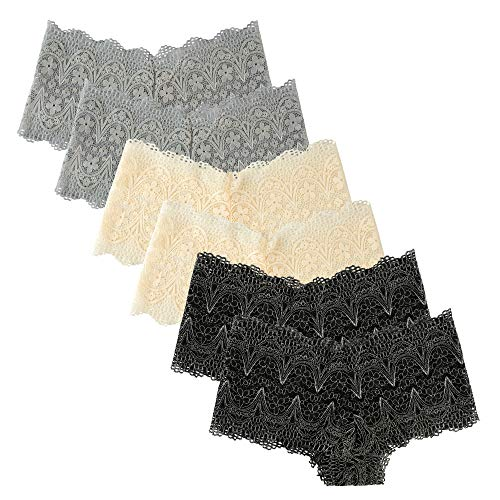 Extreme Look Boyshort Lingerie Women's Pack of 6 Comfort Sheer Lace Hipster Boyshorts Panties (Medium, 2 Black,2 Grey,2 Off ()