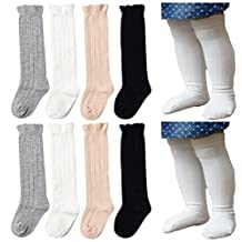 Unisex Baby Socks QandSweet 4 Pairs Toddler Girl Cable Knit Knee-High Stockings