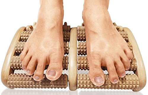 TheraFlow Dual Foot Massager Roller (Large). Relieve Plantar Fasciitis, Stress, Heel, Arch Pain - The Original - Shiatsu Acupressure Relaxation. Full Instructions/Reflexology Chart. Christmas Gift (Best Manual Foot Massager)