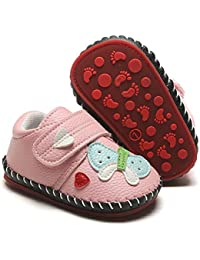 Baby Boys Girls Pu Leather Hard Bottom Walking Sneakers Toddler Rubber Sole First Walkers Infant Cartoon Slippers Crib Shoes
