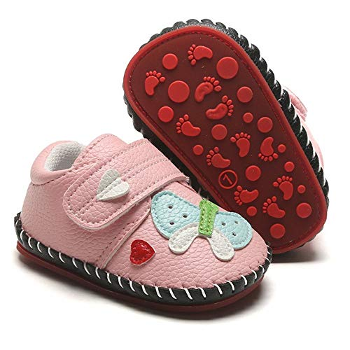 HsdsBebe Baby Boys Girls Pu Leather Hard Bottom Walking Sneakers Toddler Rubber Sole Fisrt Walkers Infant Cartoon Slippers Crib Shoes (3-6 Months Infant, Butterfly-Pink)