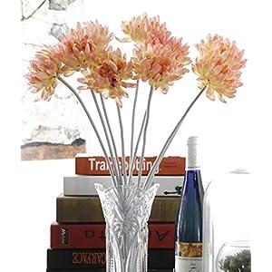 "Charmly 10 Pcs Artificial Silk Chrysanthemum Flocking Stem Fake Flowers Home Wedding Party Decor 20.5"" High Pink 30"