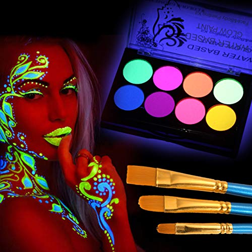 CCbeauty Luminous Body Paint UV Blacklight Glow Face Paint Makeup Palette Water Based Painting for Halloween with 10…