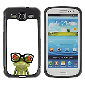 BullDog Case@ Funny Glasses Frog Rugged Hybrid Armor Slim Protection Case Cover Shell For S3 Case ,I9300 Case Cover ,I9308 case ,Leather for S3 ,S3 Leather Cover Case