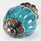 Ocean Blue Glass Cabinet Knobs, Kitchen Drawer Pulls & Handle Set/2pc ~ K214FF Vintage Style Pumpkin Shaped Glass Knobs with Antique Brass Florentine Hardware, for Dresser, Drawers, Cabinets & Vanity.