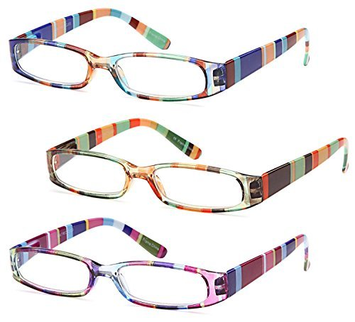 (GAMMA RAY 3 Pairs Ladies Slim Fashion Readers Colorful Reading Glasses - 3.00x)