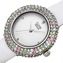 Burgi Women's BUR227 Swarovski Colored Crystal & Diamond Accented Leather Strap Watch Packed in a Beautiful Gift Box - BUR227WT