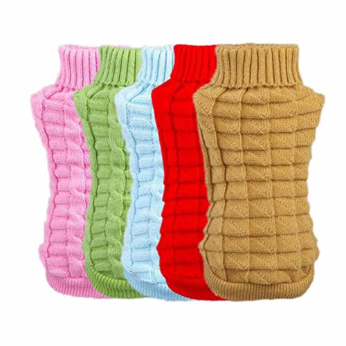 Picture of OutTop Dogs Cold Weather Knitted Turtle Neck 3D Patterns Sweater for Small-Sized Dogs Dachshund, Poodle, Pug, Chihuahua, Shih Tzu, Yorkshire Terriers, Papillon (Red, S)