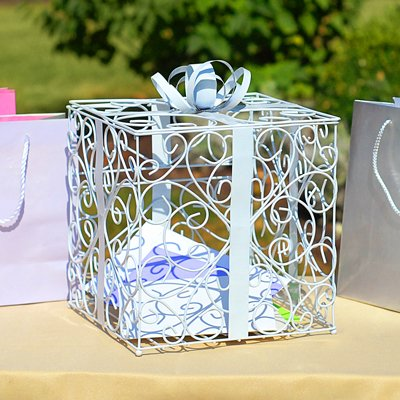 Gift Box Place Card Holder - RaeBella Weddings WHITE Reception Gift Card Holder Box