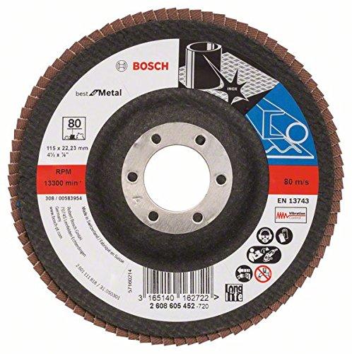 2 opinioni per Bosch 2608605452- Disco lamellare, diametro 115 mm, diametro foro 22,23 mm, 80