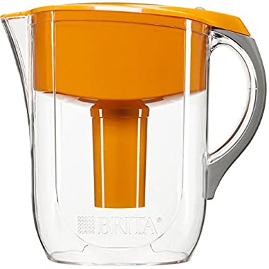 Brita 10 Cup Grand Water Pitcher with 1 Filter, BPA Free, Orange