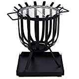 Home Discount Steel Brazier Outdoor Garden Patio Heater Fire Burning Log Wood Burner Basket BBQ Grill Ash Tray, Square