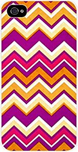 Bright Chevrons- Case for the Apple Iphone 4-4s Universal- Hard White Plastic