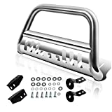 """AUTOSAVER88 Bull Bar Compatible 2007-2018 Toyota Tundra Models / 2007-2018 Toyota Sequoia All Models, 3"""" Stainless Steel Tubing Brush Push Front Bumper Grille Guard - Chrome"""