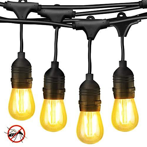 (BlueX Amber Bug String Lights Outdoor – Vintage Edison Filament LED Bug Light Bulbs - 48FT - 15 Hanging LED Amber Bug Free Light Bulbs - Heavy Duty Waterproof Commercial Grade, Patio, Porch, Café)