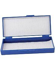 uxcellRoyal Blue Plastic 50-Place Microslide Slide Microscope Box