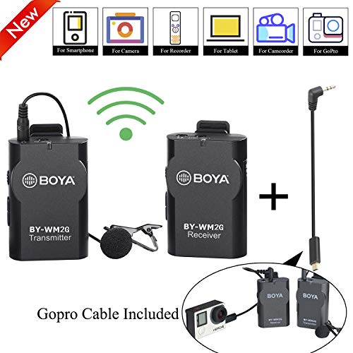 Lavalier Wireless Microphone for Smartphone Camera GoPro, BOYA Universal Lapel Mic for GoPro Hero3 Hero3+ Hero4 iPhone X 8 8 Plus iPad Tablet DSLR Camera Podcast Vlogging Street Interviews YouTube