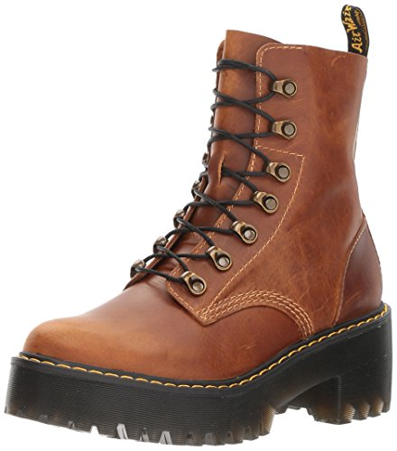 Dr. Martens Women's Leona Orleans Fashion Boot, Butterscotch, 8 Medium UK (10 US) (Waxy Calf Footwear)